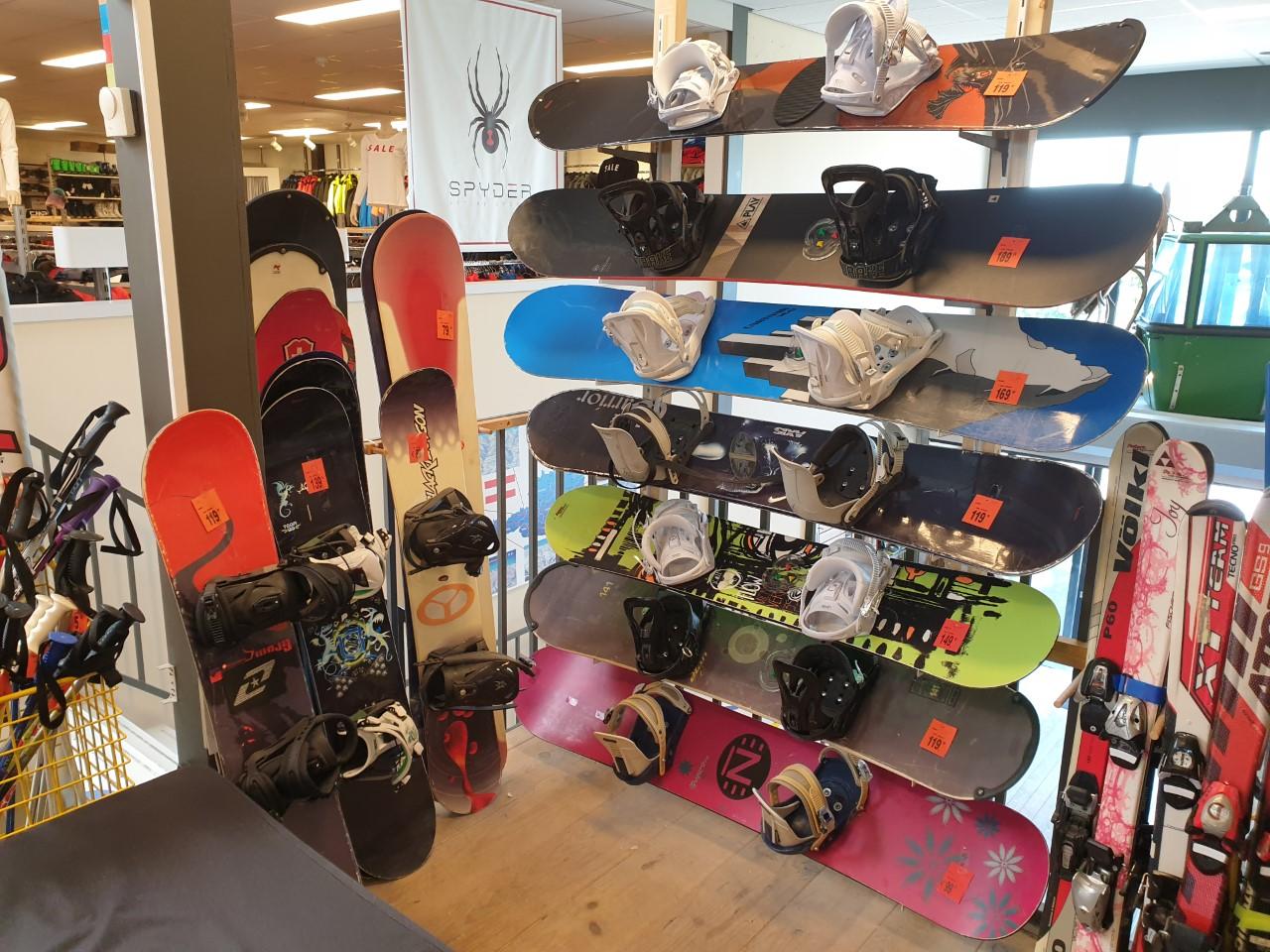 Gebruikte snowboards/bindingen